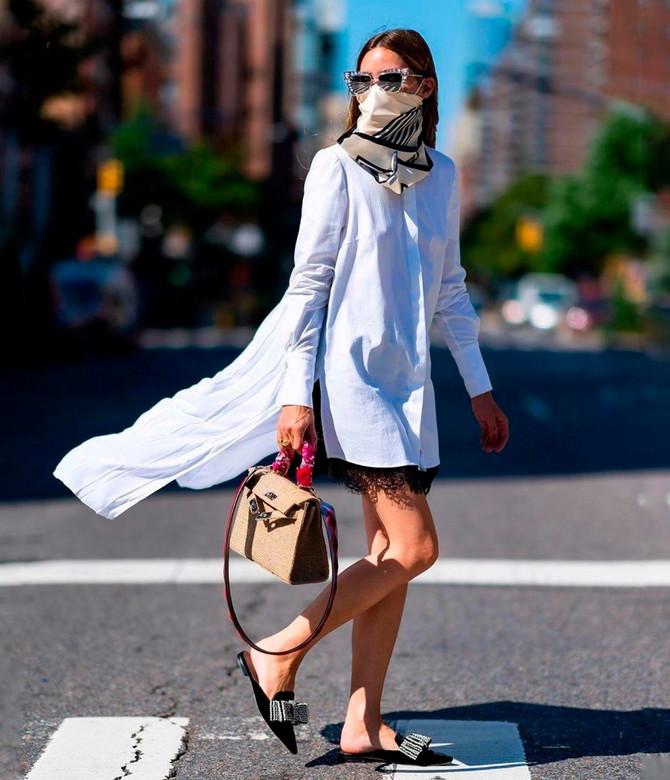 olivija Palermo nosi svilenu maramu kao masku