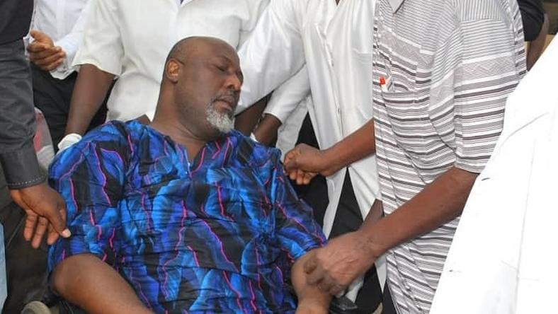 Senator Dino Melaye required medical treatment after he surrendered to police officers after an 8-day siege on his home [Facebook/Nigeria Police Force]