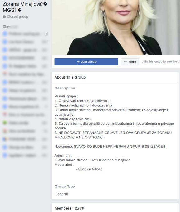 Lažna grupa o Zorani Mihajlović