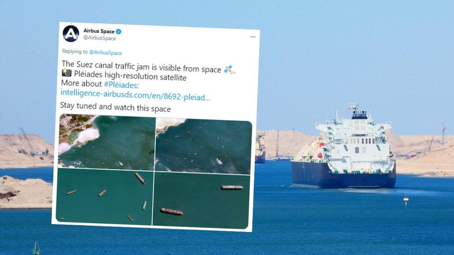 Zdjęcia z satelity pokazują korek do Kanału Sueskiego