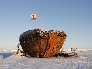 Shipwreck remains of the Maud near Cambridge Bay, named for Queen Maud of Norway, a ship built for R