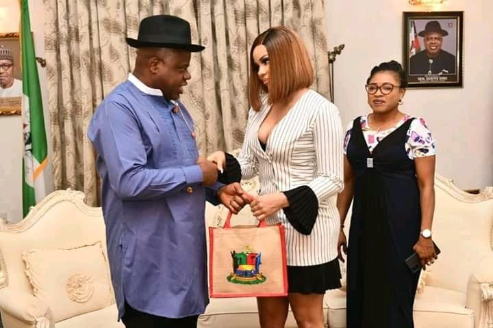 Nengi and Governor Diri back in November 2020 during her appointment as special assistant to the governor [AccelerateTV]