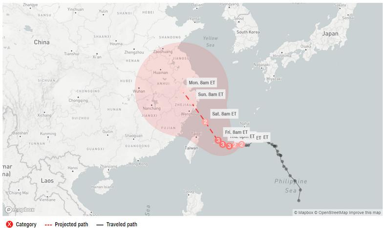 Poloha a predpoveď trasy pre tajfún in-fa