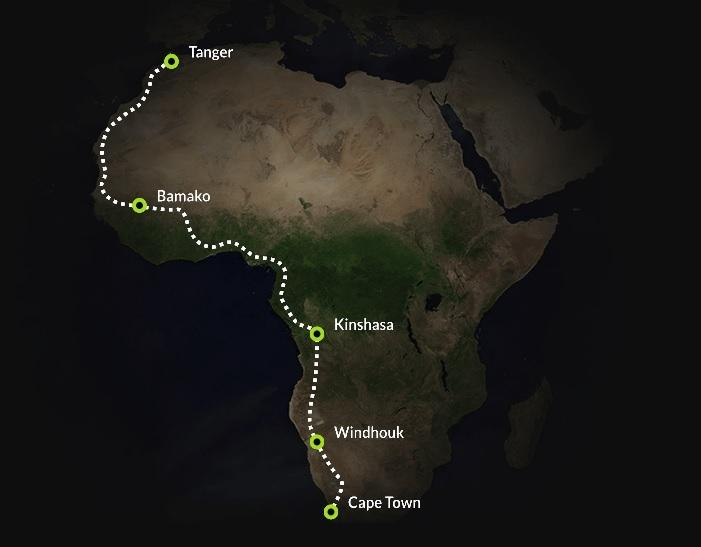 """Electric Explorer African Challenge"" mapa."