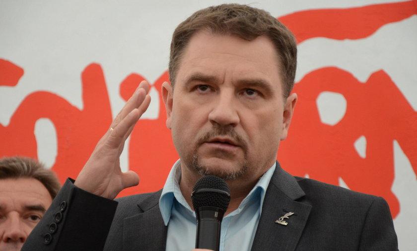 Na zdjęciu szef Solidarności Piotr Duda.