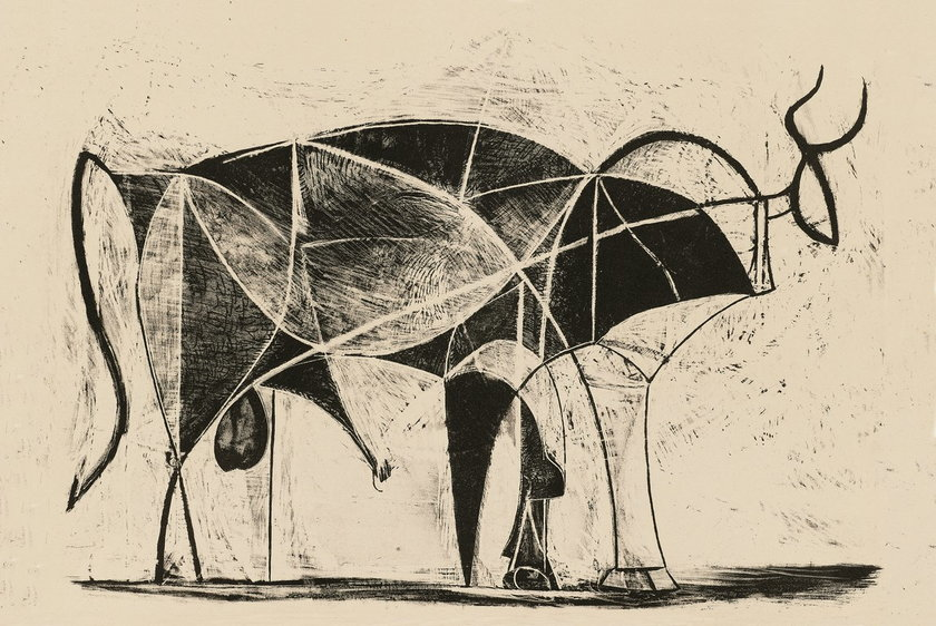 Pablo Picasso, Byk VI, 26.12.1945, z serii: Byki, litografia, 30 x 43 cm, kolekcja Casa Natal, Malaga © Succession Picasso 2014