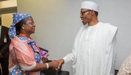 Lauretta Onochie (left) with President Muhammadu Buhari (right) [Facebook-Laurestar1]