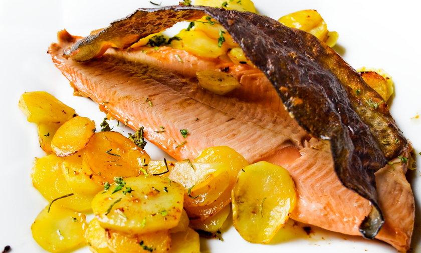 łosoś, ziemniaki, ryba, jedzenie