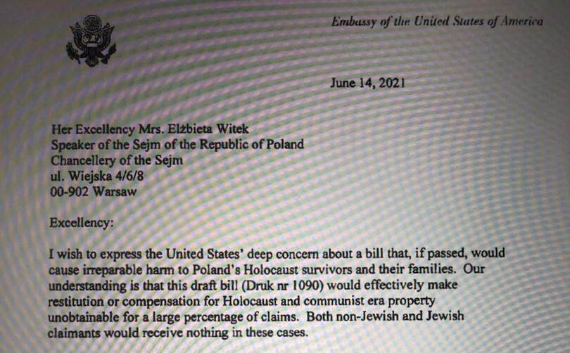 Fragment listu amerykańskiego dyplomaty do polskiej marszałek Sejmu