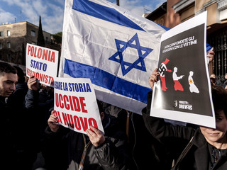 Rome's Jewish Community Demonstrates Against A Law Which Denies Polish Liability During The Shoah