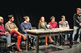 "Ekipa predstave ""The end"" (sleva): Imre Elek Mikeš, Tamaš Olah, Andrej Boka, Marta Bereš, Vladimir Grbić, Gabor Mesaroš i Andraš Urban"