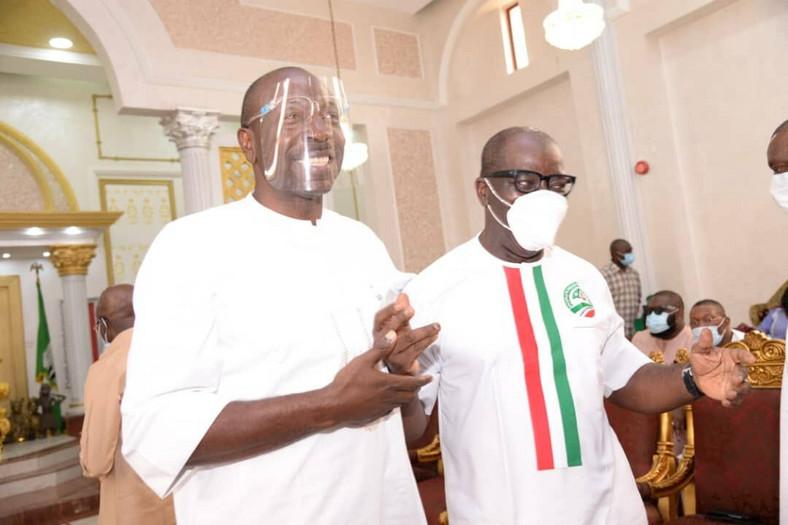 Edo State Governor, Godwin Obaseki (Right) and APC governorship candidate in Edo state, Osagie Ize-Iyamu. [Twitter/@PastorIzeIyamu]
