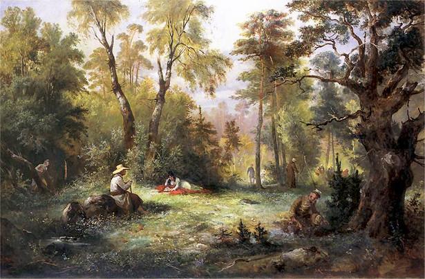 """Franciszek Kostrzewski (1826–1911), """"Grzybobranie"""", ilustracja do III księgi """"Pana Tadeusza"""""""