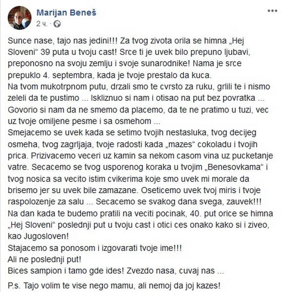 Ćerka Marijana Beneša je napisala potresno pismo na Fejsbuk stranici posvećenoj legendarnom bokseru