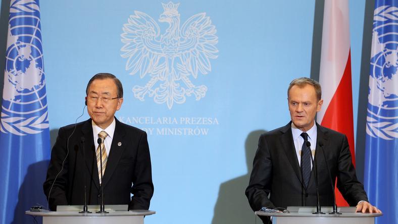 Sekretarz Ban Ki Mun i Premier Donald Tusk na wspólnej konferencji prasowej