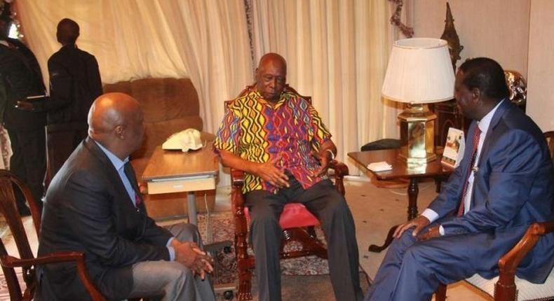 Retired President Daniel Moi with ODM leader Raila Odinga and Baringo Senator Gideon Moi