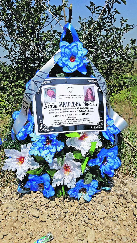 NIS04 venac na mestu nesrece na putu Jasenica Yitoradja na kojem su poginuli otac i cerka foto Branko Janackovic