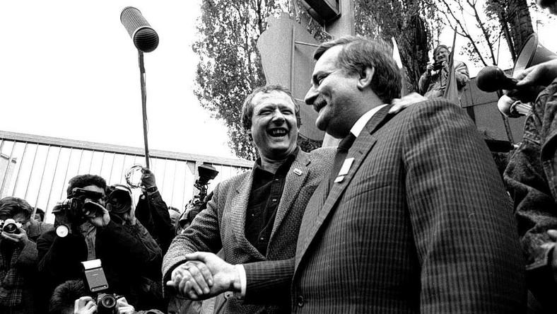 Adam Michnik i Lech Wałęsa. Stocznia Gdańska, rok 1989