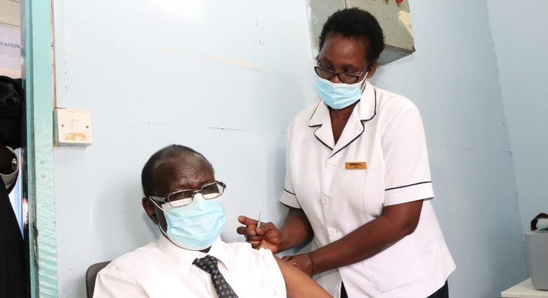 Meru Governor Kiraitu Murungi when he took the Covid-19 vaccine