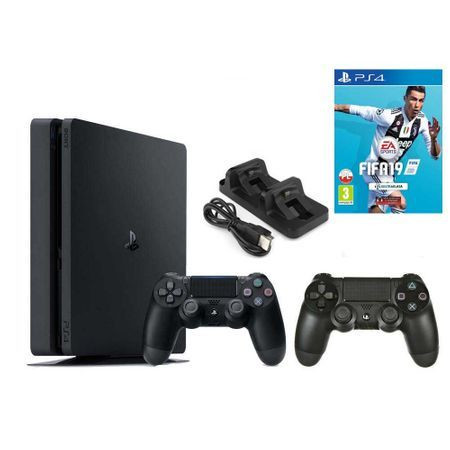 Sony PlayStation 4 Slim 500 GB Czarny + FIFA 19 + 2 pady