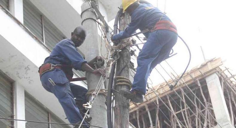 Kenya Power workers during a past maintenance procedure