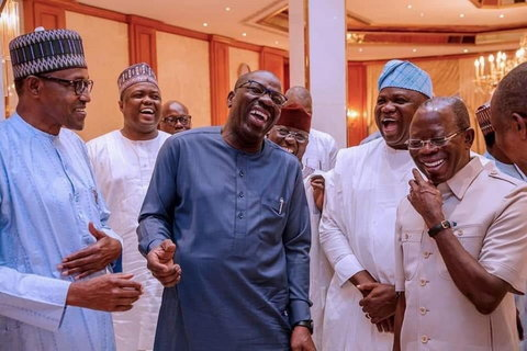 President Muhammadu Buhari, Governor Godwin Obaseki and APC National Chairman, Adams Oshiomhole share a laugh in 2019 ( Presidency)