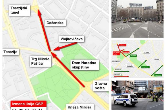 (MAPA) CENTAR ZAKLJUČAN DO PONOĆI Zbog mitinga zatvorene važne saobraćajnice, ovo su vam ALTERNATIVE