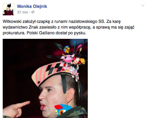 Print screen z facebooka Moniki Olejnik, fot. Facebook