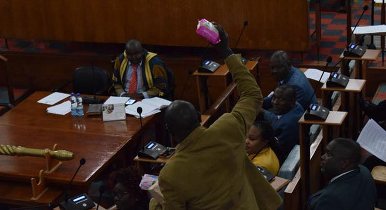 Members of the Nyeri County Assembly during a past discussion on sanitary towels (Twitter)