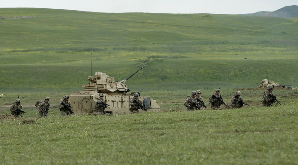 U.S. servicemen take part in the joint U.S.-Georgian exercise Noble Partner 2015 at the Vaziani training area outside Tbilisi