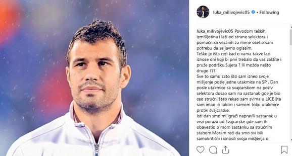 Saopštenje na zvaničnom Instagram nalogu Luke Milivojevića