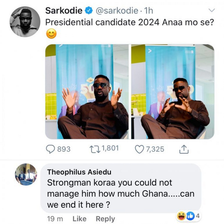 Social media reacts to Sarkodie's presidential ambition with ...