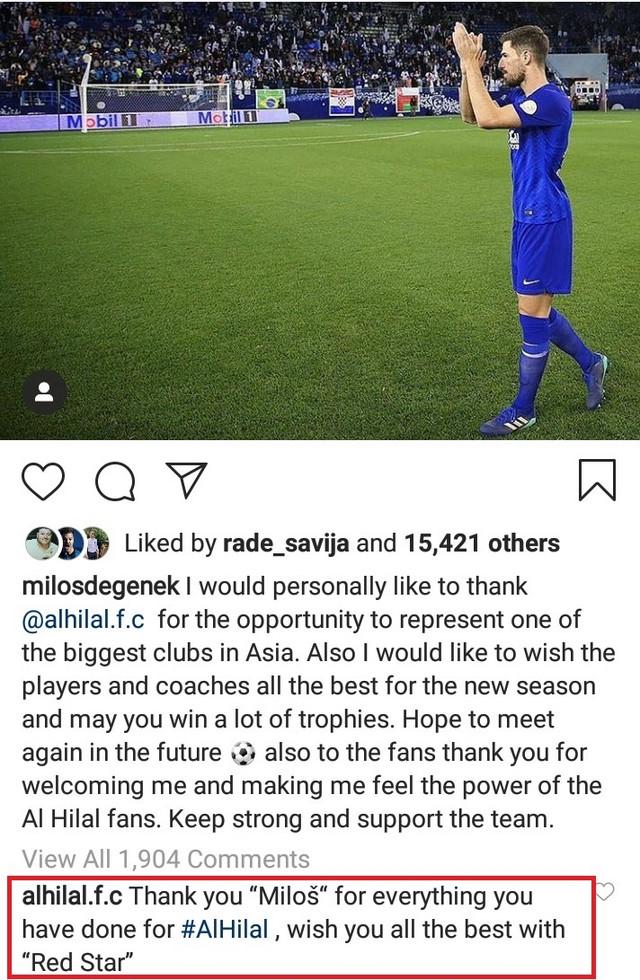 Miloš Degenek se oprašta, Al Hilal mu želi sreću u FK Crvena zvezda