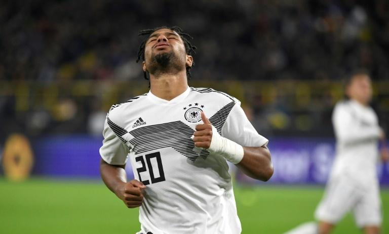 Germany's forward Serge Gnabry shows his frustration as Argentina scored two second-half goals in Wednesday's 2-2 draw in Dortmund.