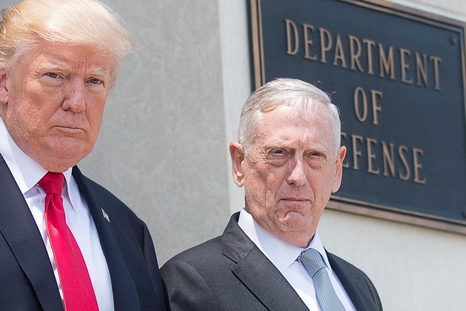 Donald Trump and James Mattis at the Pentagon for National Security Meeting