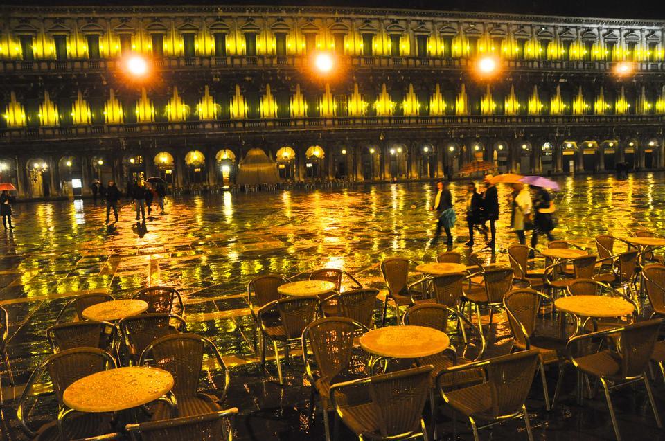 Plac św. Marka w deszczu