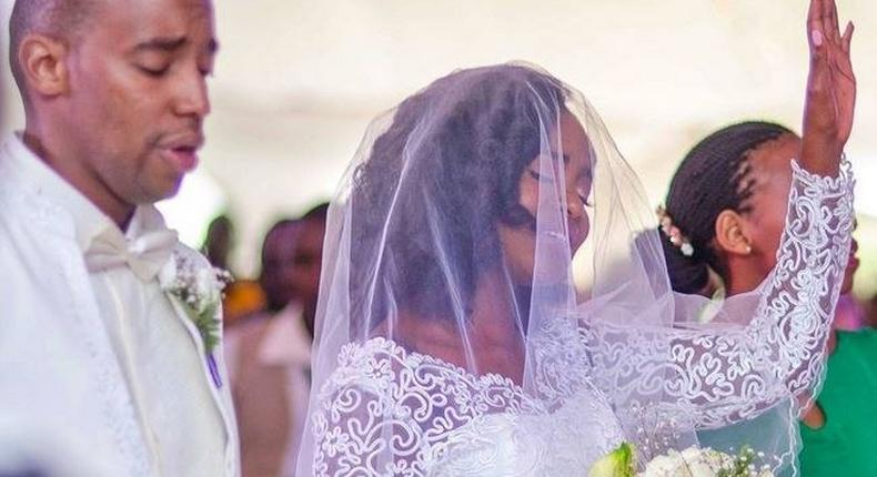 Waihiga and Joyce on their wedding day