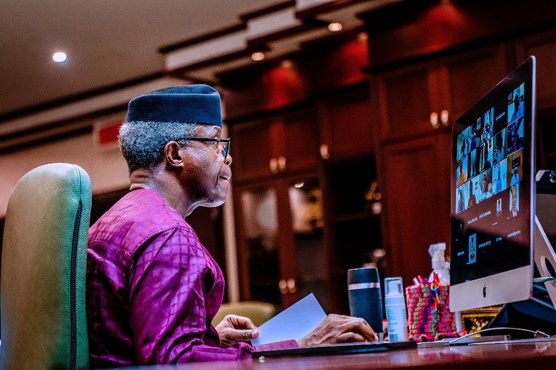 Vice President Yemi Osinbajo SAN virtually presides over The National Economic Council Meeting where he launched the PEBEC Ease of Doing Business Subnational Baseline Survey. 18th Mar, 2021. Photos; Tolani Alli
