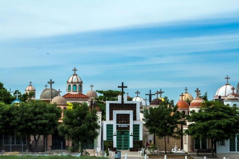 The Jardines de Humaya cemetery, where late drug kingpins repose in luxurious tombs outfitted with bullet-proof glass, soaring domes and air-conditioning