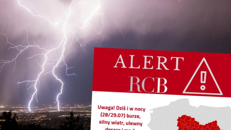 Pogoda na środę: Gwałtowne burze. Wydano alert RCB