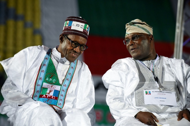 President Buhari is set to be sworn in on May 29 while Atiku maintains that he won the February 23 election [AFP]
