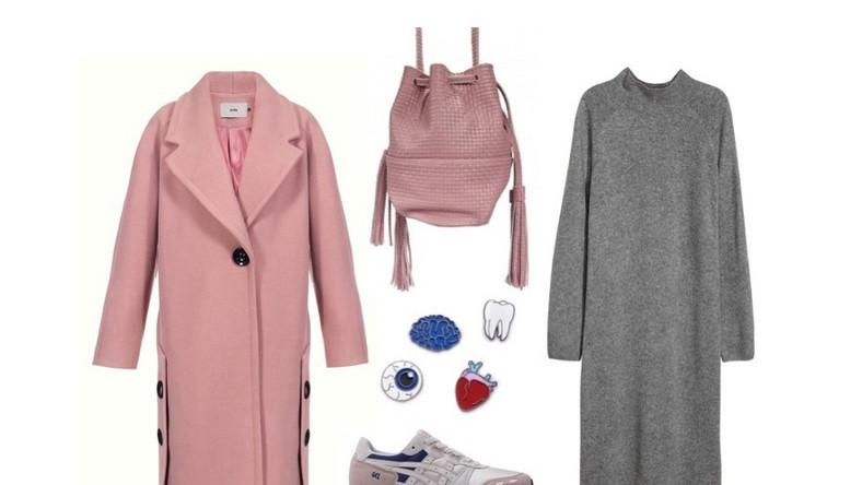 Płaszcz: Yoshe.com; sukienka: H&M; torba: Showroom.pl; przypinki: Romwe.com; buty: ASICS Tiger.