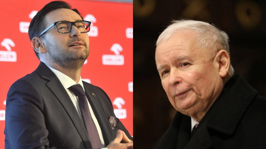 Daniel Obajtek (L) i Jarosław Kaczyński (P)