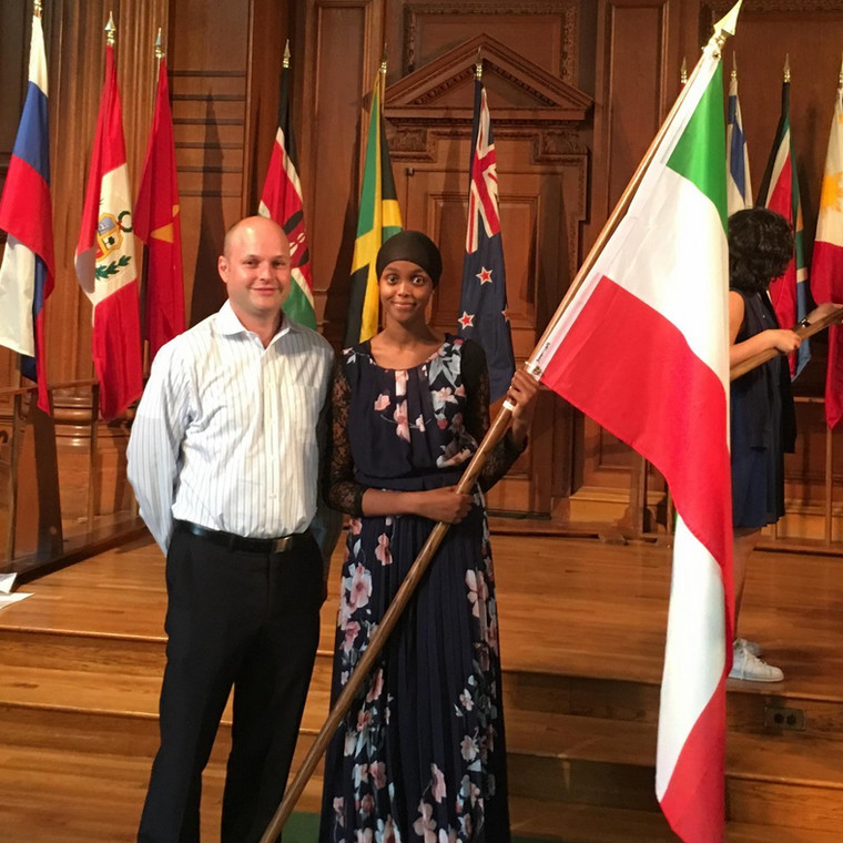 #AbaarsoAlum Zakeiya and @JonathanMStarr pose with the first #Somaliland flag to join the collection at the @phillipsacademy flag ceremony.
