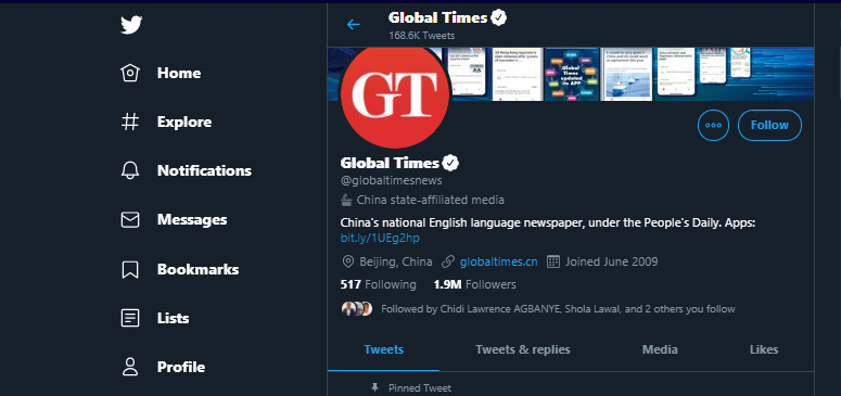 Global Times News has been tagged as Chine State-Affiliated media with the new feature