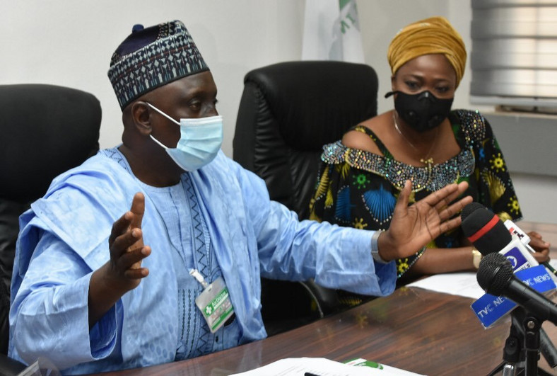 Abike Dabiri-Erewa, Chairman/CEO of Nigerians in Diaspora Commission (NiDCOM) and Vice Chairman, Senate Committee on Diaspora and NGOs, Sen. Ibrahim Oloriegbe. [Twitter/@nidcom_gov]