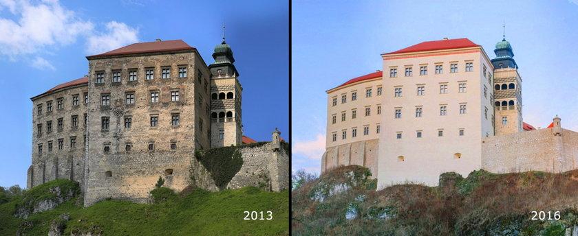 Zamek przed i po renowacji