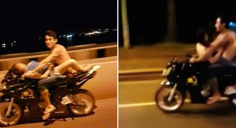 Paraguayan couple found having sex on a motorcycle.