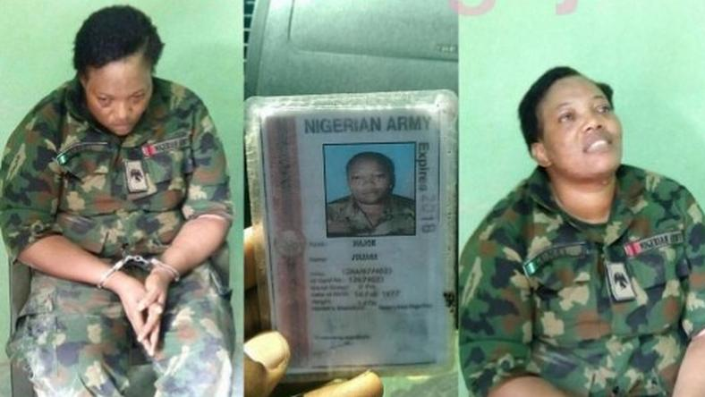 Fake female soldier, Maj Juliana Gumel.