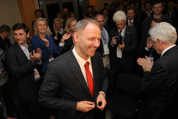 Jacek Protasiewicz podczas zjazdu Dolnośląskiej Platformy Obywatelskiej.